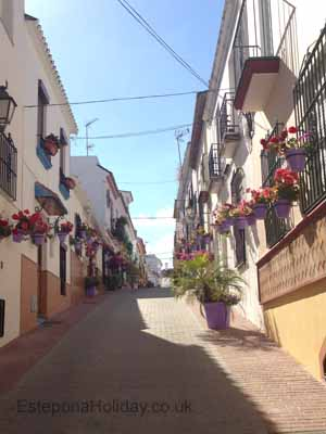 A cobbled street in Estepona Old Town